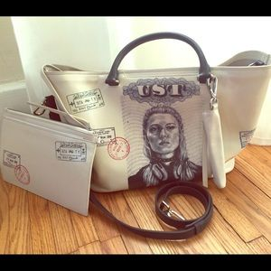 TUMI limited edition white leather tote